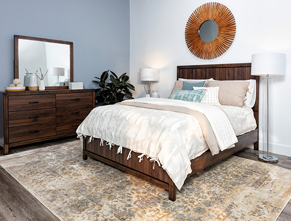 transitional Bedroom with Willow Creek Queen Panel Bed
