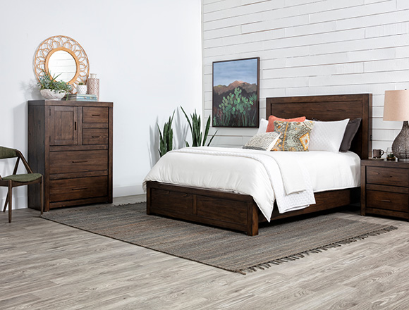 transitional Bedroom with Riley Brownstone Queen Panel Bed