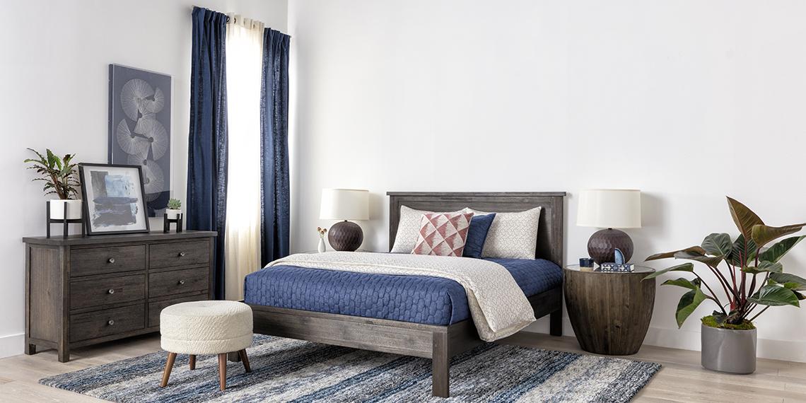 Transitional Bedroom With Larkin Espresso Queen Panel Bed Living Spaces