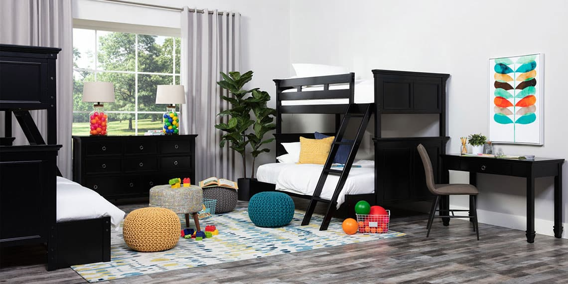 transitional Bedroom with Savannah Twin Over Full Bunk Bed