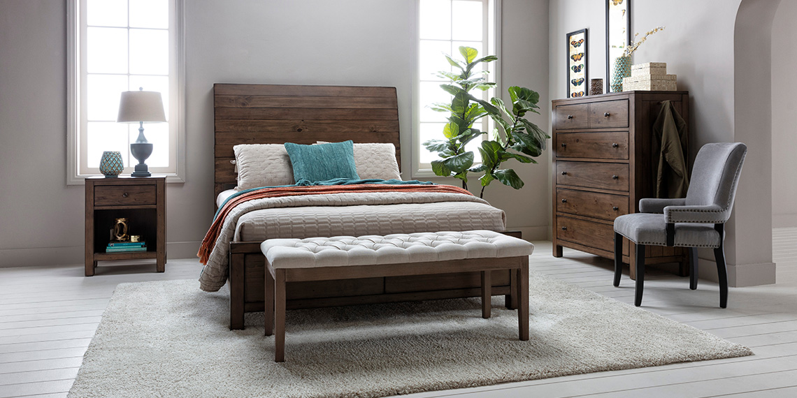 transitional Bedroom with Brooke Queen Sleigh Bed