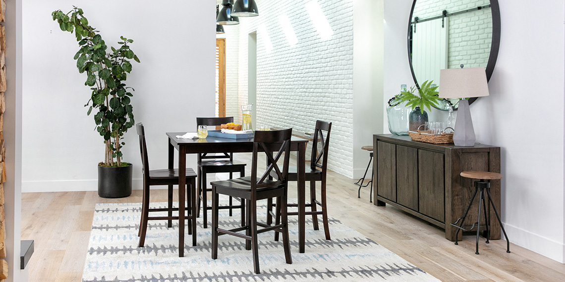 Transitional Dining Room With Grady 5 Piece Round Dining