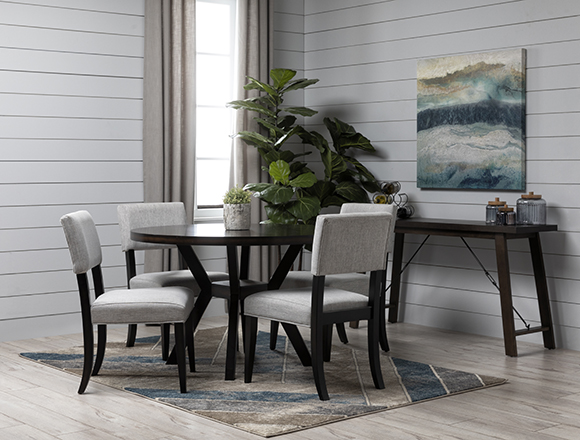 transitional Dining Room with Macie Black 5 Piece Dining Set