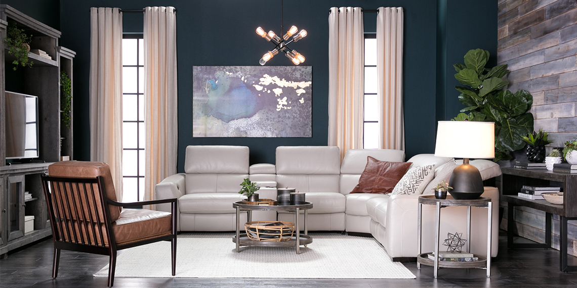 transitional Living Room with Kristen Silver Grey 6 Piece Power Reclining Sectional