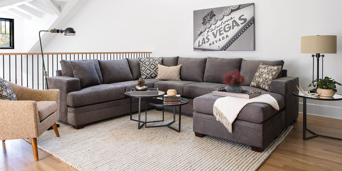 transitional Living Room with Kerri 2 Piece Sectional W/Raf Chaise