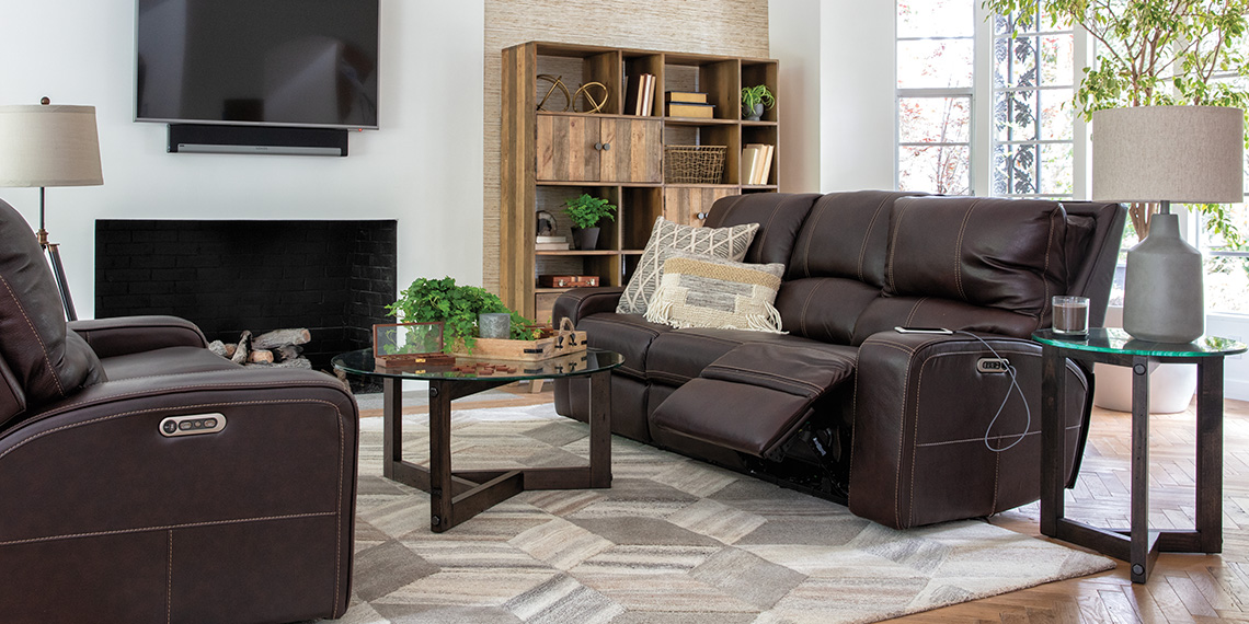 transitional Living Room with Clyde Dark Brown Leather Power Reclining Sofa W/Power Headrest & Usb