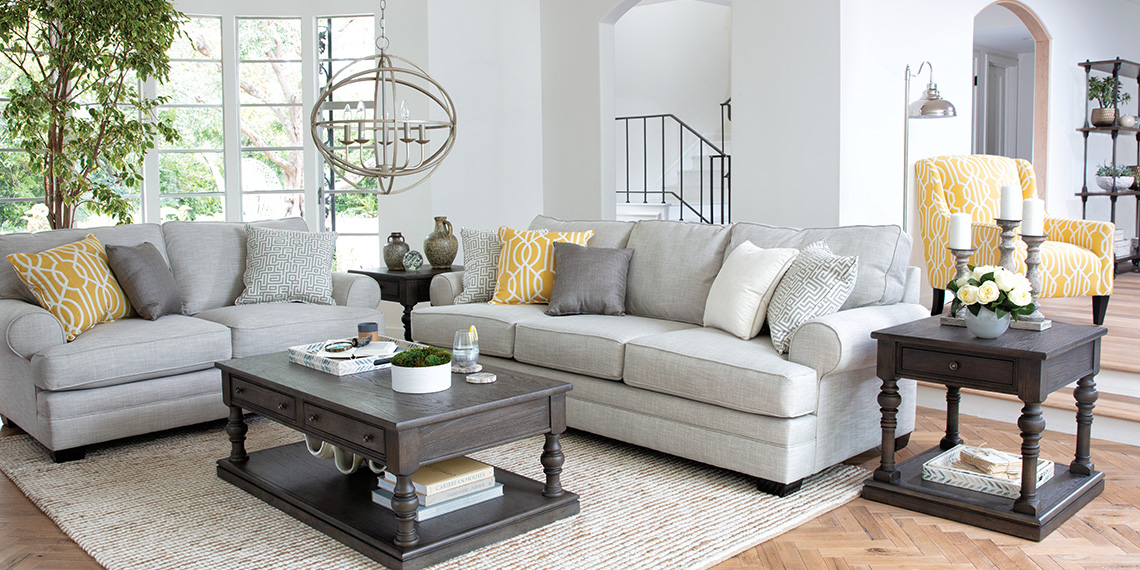 transitional Living Room with Karen Sofa