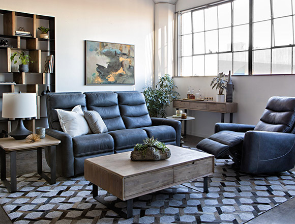 Transitional Living Room With Malia Reclining Sofa
