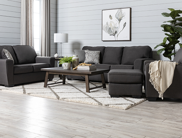 transitional Living Room with Mcdade Graphite Sofa