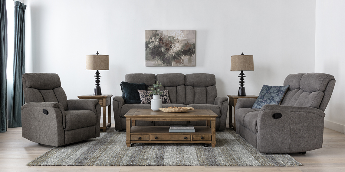 transitional Living Room with Suzy Dark Grey Reclining Sofa