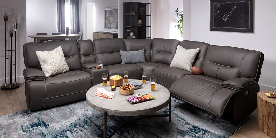 transitional Living Room with Marcus Grey 6 Piece Sectional With Power Headrest & Usb