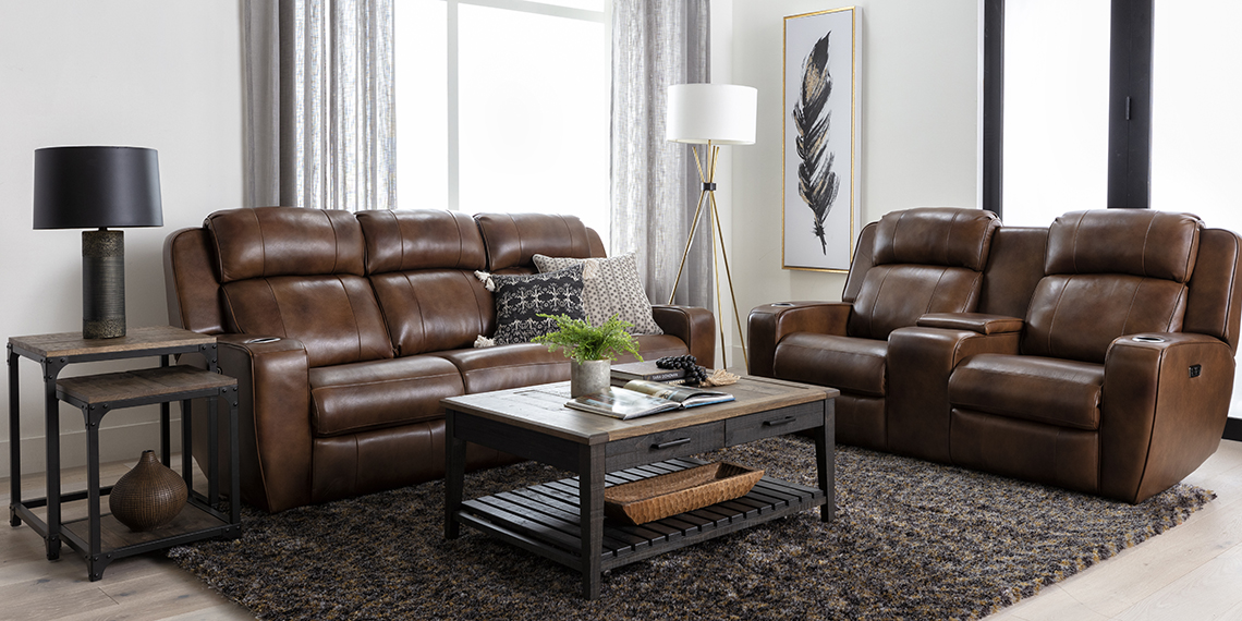 transitional Living Room with Phelps Leather Power Reclining Sofa With Power Headrest & USB