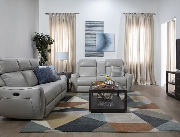 transitional Living Room with Bridget White Power Reclining Sofa With Power Headrest and Lumbar