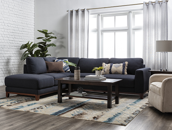 transitional Living Room with Amherst Royal 2 Piece Sectional With Left Arm Facing Chaise