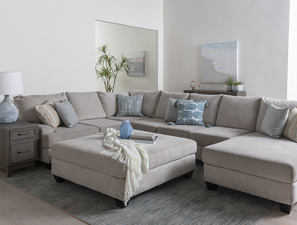 transitional Living Room with Harper Foam II 3 Piece Sectional With Left Arm Facing Chaise