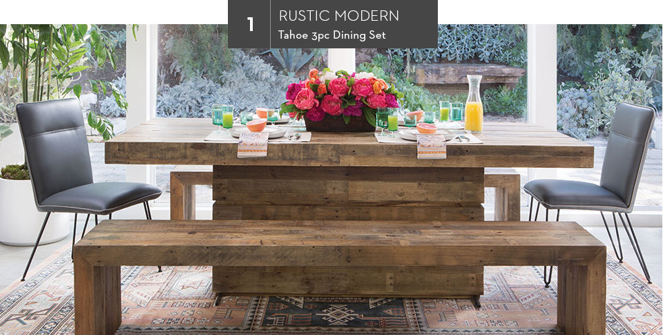 1. Rustic Modern | Tahoe 3pc Dining Set