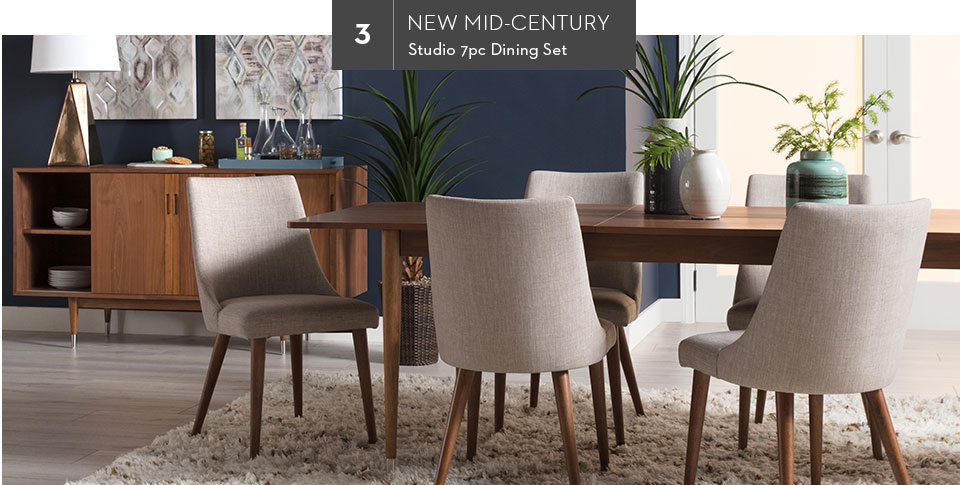 3. New Mid-Century | Studio 7pc Dining Set