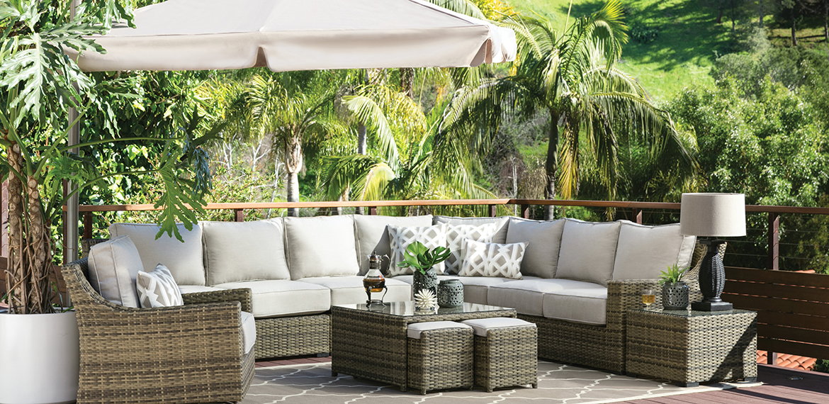Transitional Patio & Backyard with aventura Set
