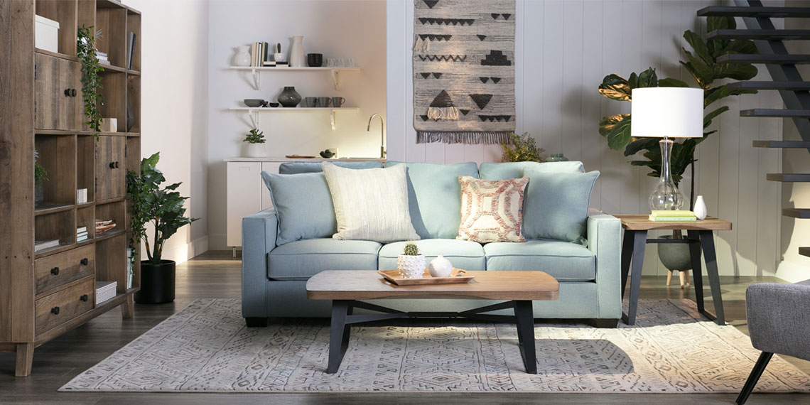 Boho Living Room with Raphael II Moonstone Sofa