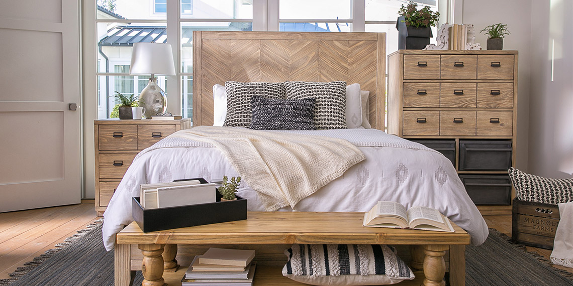 Country/Rustic Bedroom with Magnolia Home Herringbone Bed