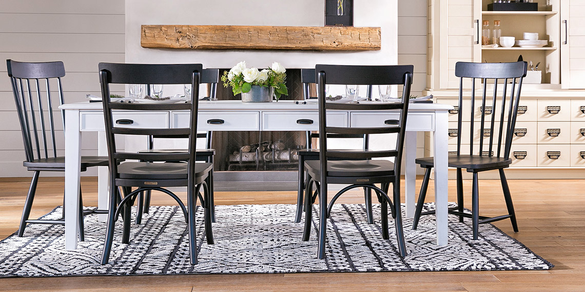 farmhouse country rustic dining room with magnolia home keeping