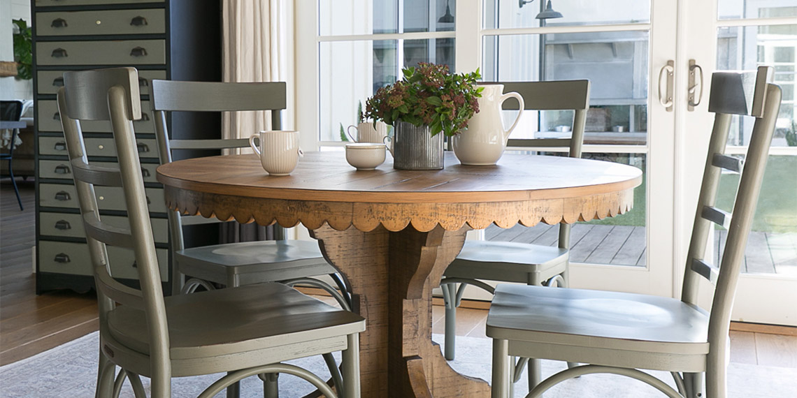Country/Rustic Dining Room with Magnolia Home Top Tier Round Table