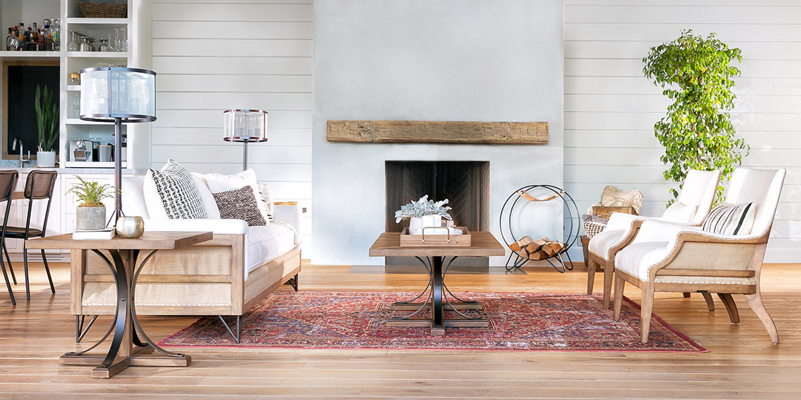 country rustic living room with magnolia home paradigm sofa living