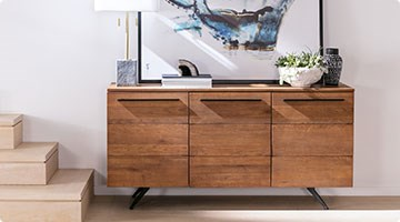 Modern Dark Wood Credenza : Mid century modern furniture living spaces
