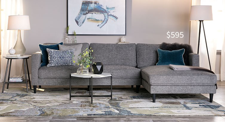 Cosmos grey 2 piece sectional