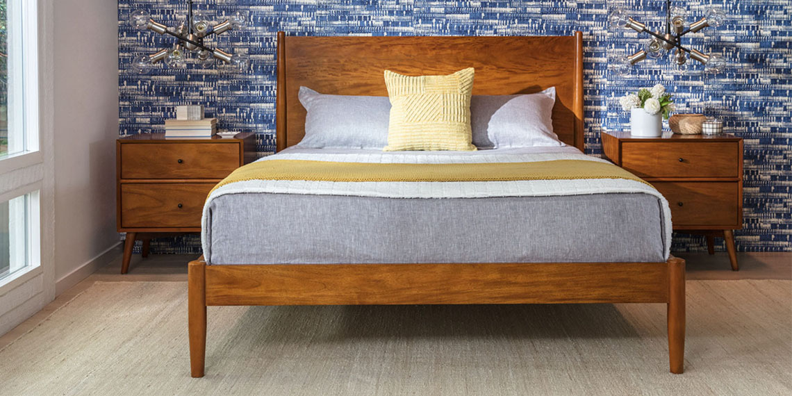 Mid Century Bedroom with Alton Cherry Queen Platform Bed