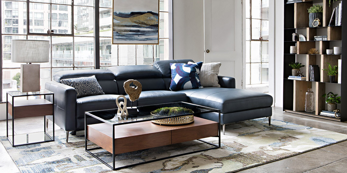 Modern Living Room with Tara Blue 2 Piece Right Facing Chaise Sofa