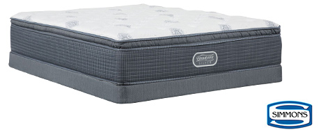 Simmons lush Pillow Top Queen Mattress w/ Low Profile Foundation
