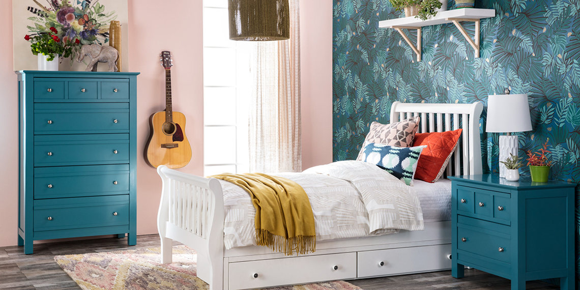Boho Kids Bedroom with Bayfront bed