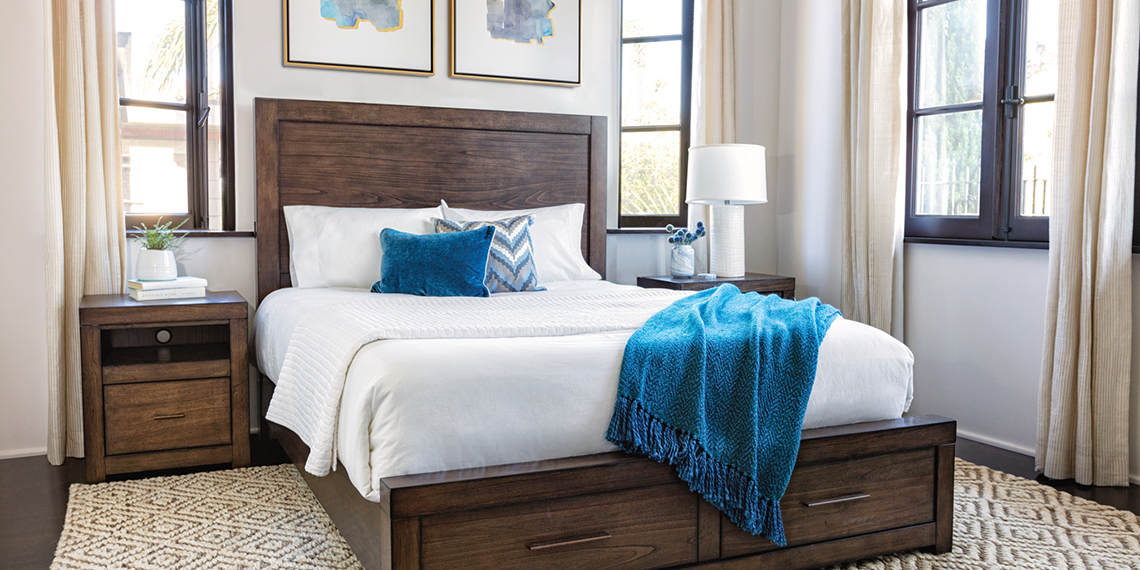 Transitional Coastal Bedroom With Riley Bed | Living Spaces