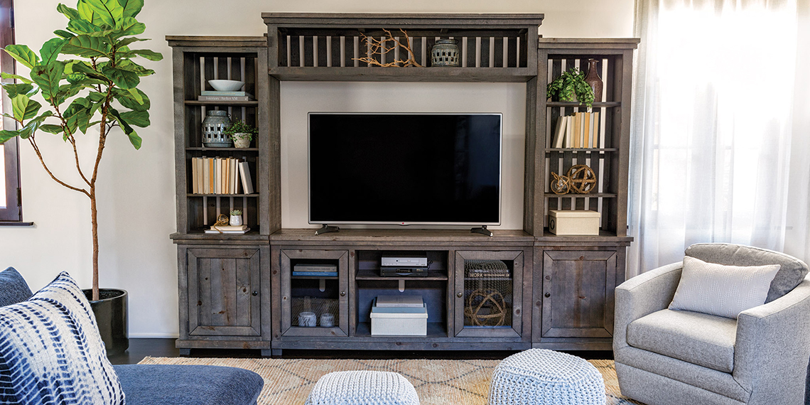 Coastal Living Room with Sinclair Entertainment Center | Living Spaces