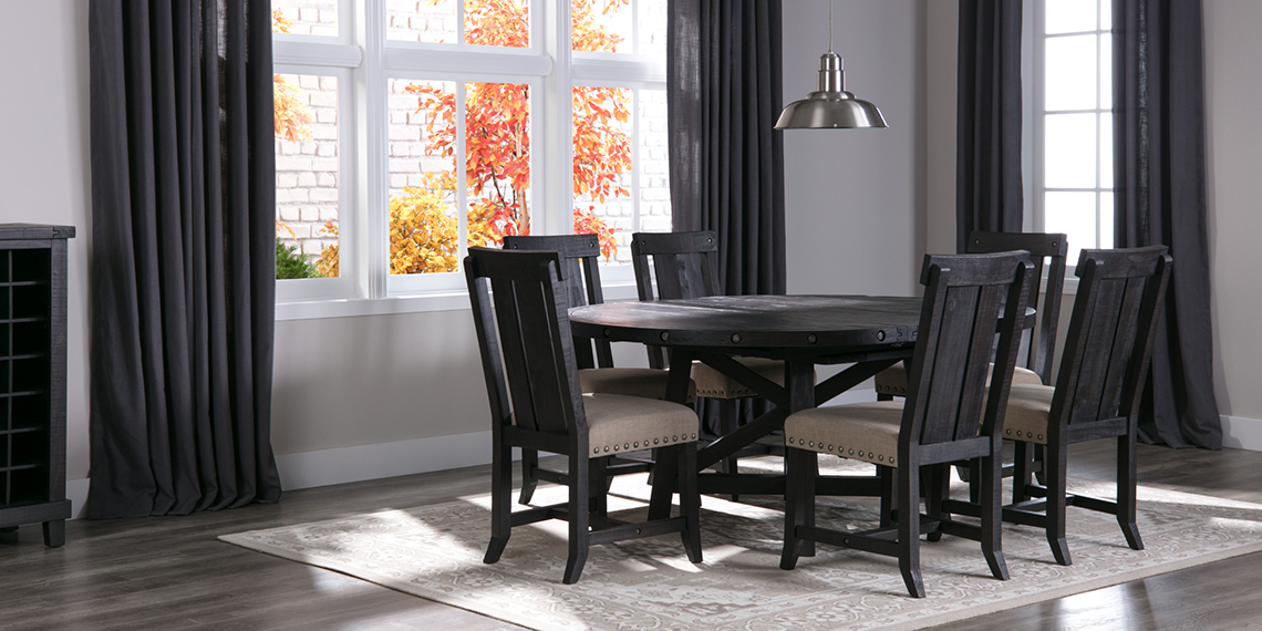 country rustic dining room with jaxon set living spaces
