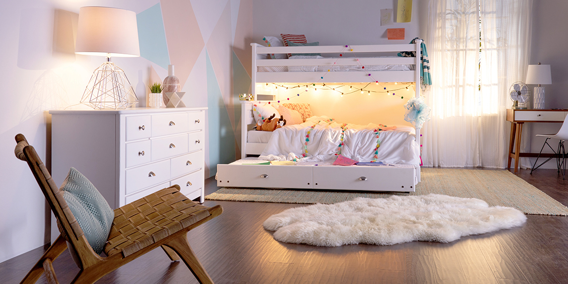 Transitional Kids Bedroom With Full Bunk Summit Bed Under 100