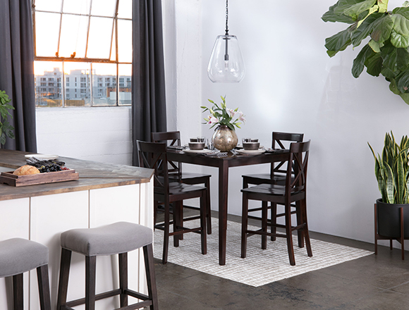transitional dining room with Pierce dining set