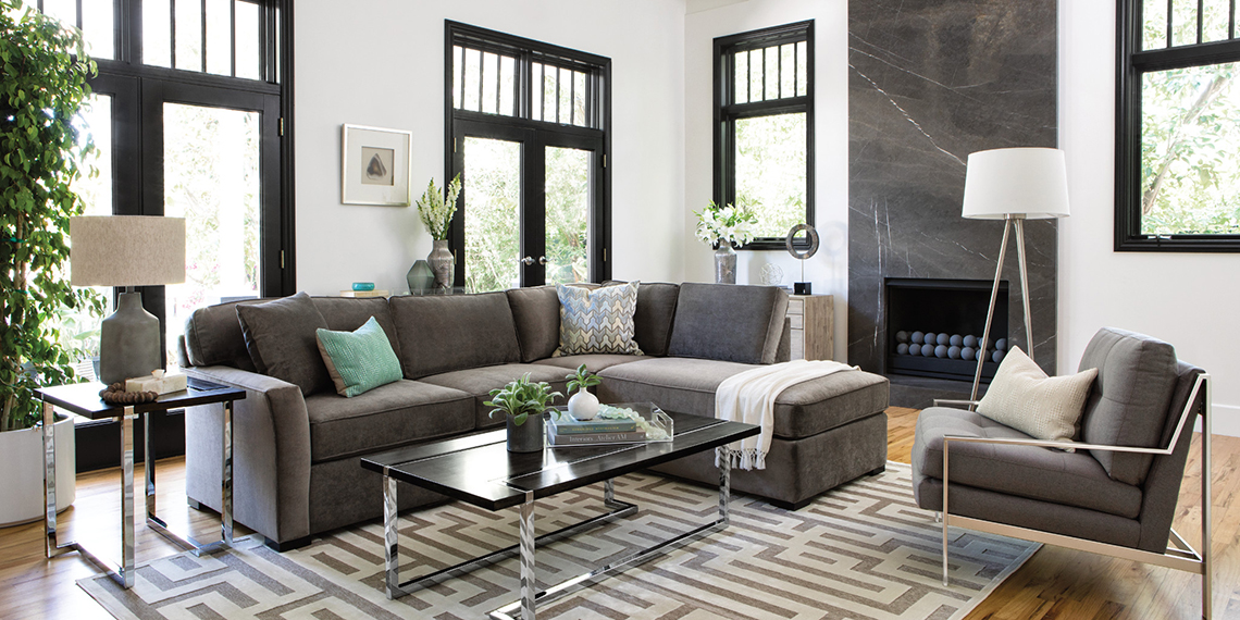 Gray And White Transitional Rustic Living Room With: Transitional Living Room With Aspen Sofa
