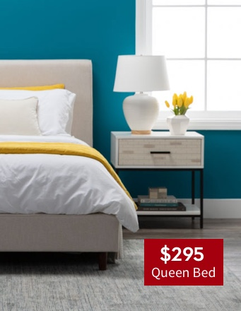 $295 Dean Sand Queen Upholstered Panel Bed