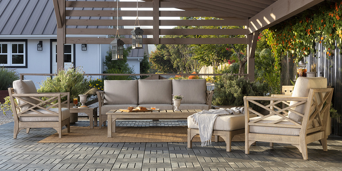 Traditional Patio & Backyard with Avignon Outdoor Sofa