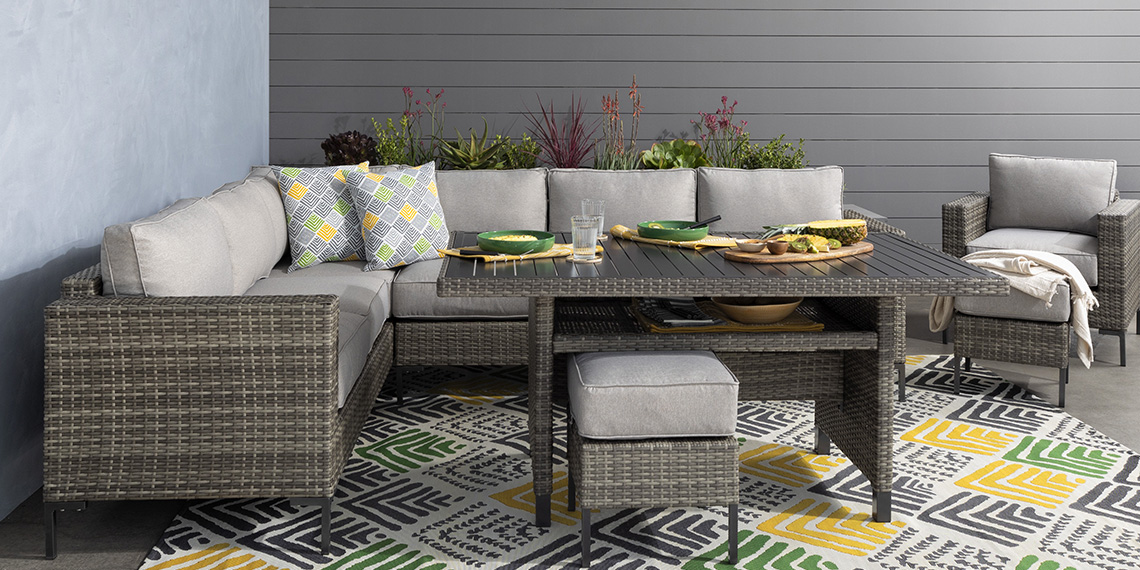Transitional Patio & Backyard with Hayes Outdoor Banquette Lounge with 2 Ottomans