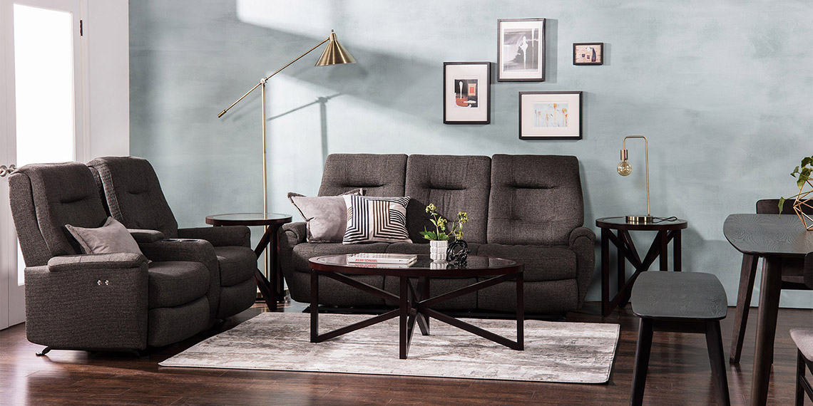 Glam Living Room with Jillian Power Reclining Sofa With Usb