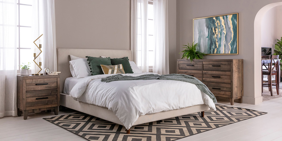 Glam Bedroom with Dean Sand Queen Upholstered Panel Bed