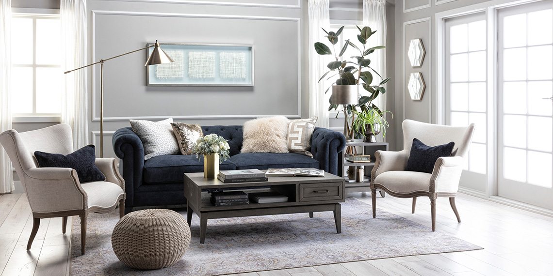 Glam Living Room with Patterson III Sofa