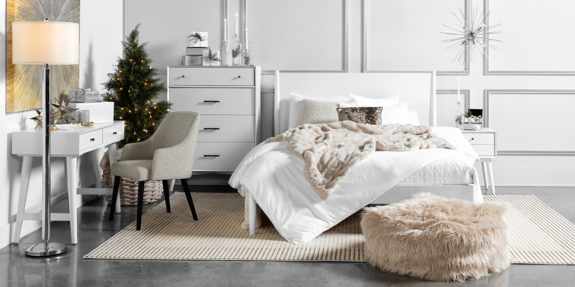 Glam Bedroom with Alton White Queen Platform Bed