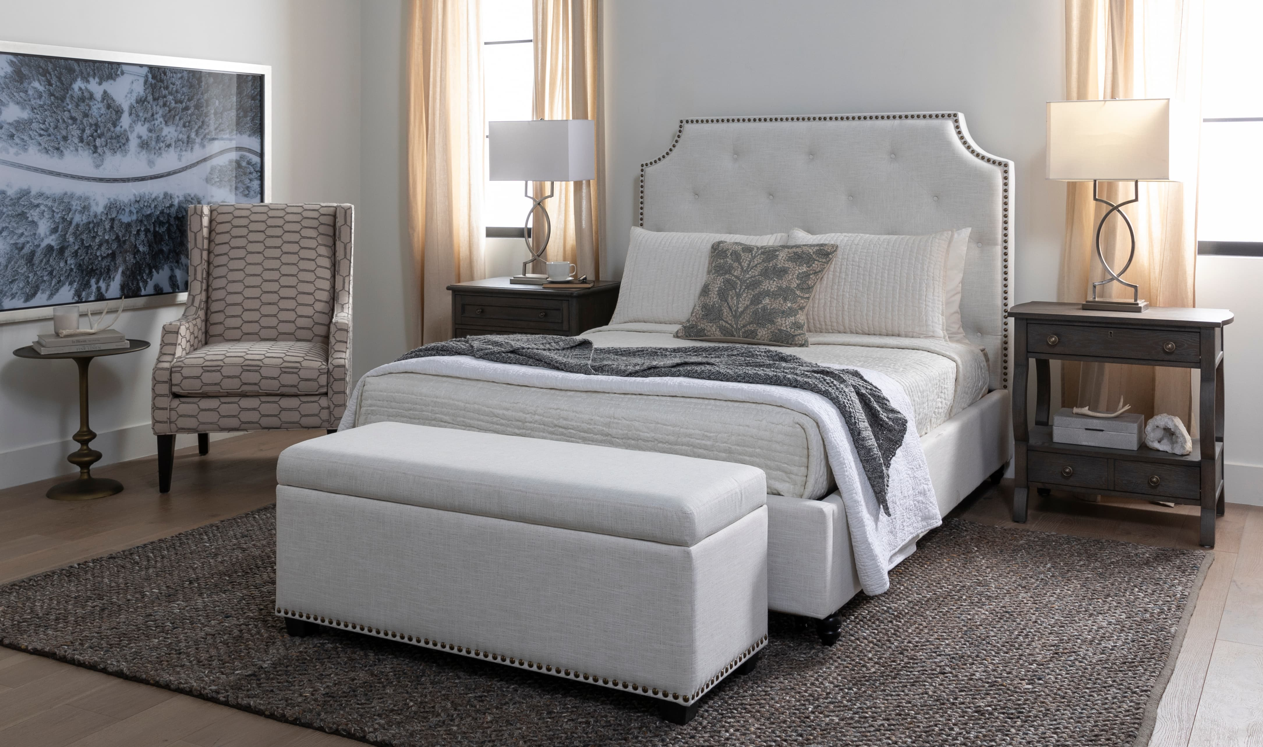 Glam Bedroom with Sophia II Queen Upholstered Panel Bed