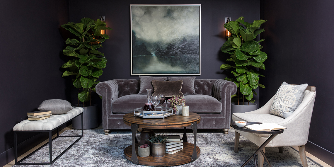 Glam Living Room with Patterson III Dark Grey Sofa