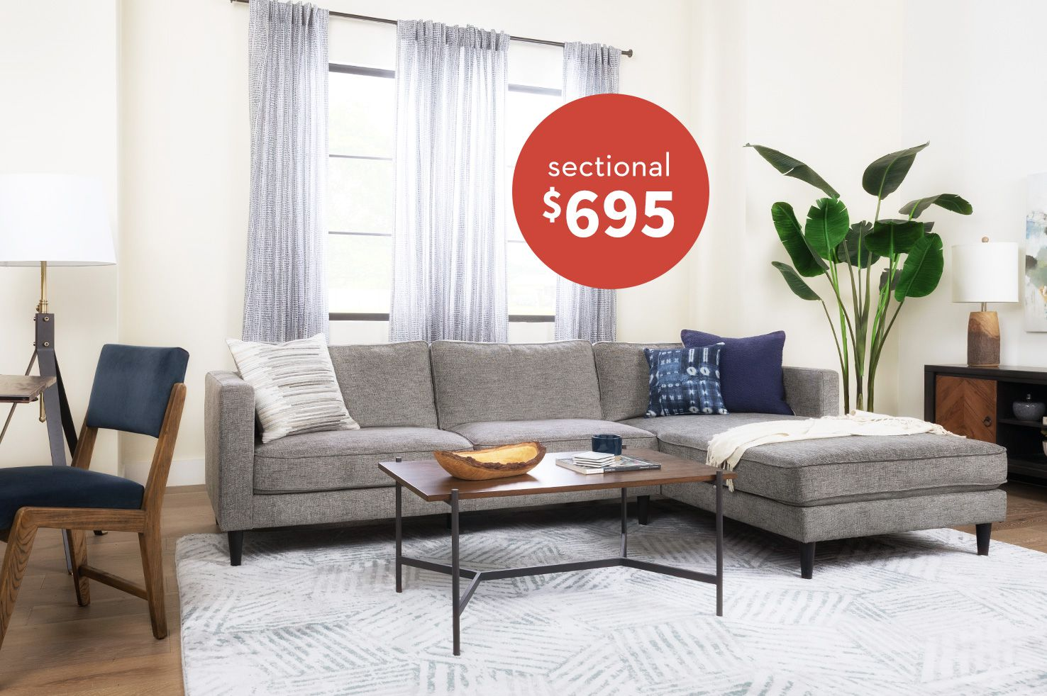 Cosmos Grey 2 piece Sectional $695