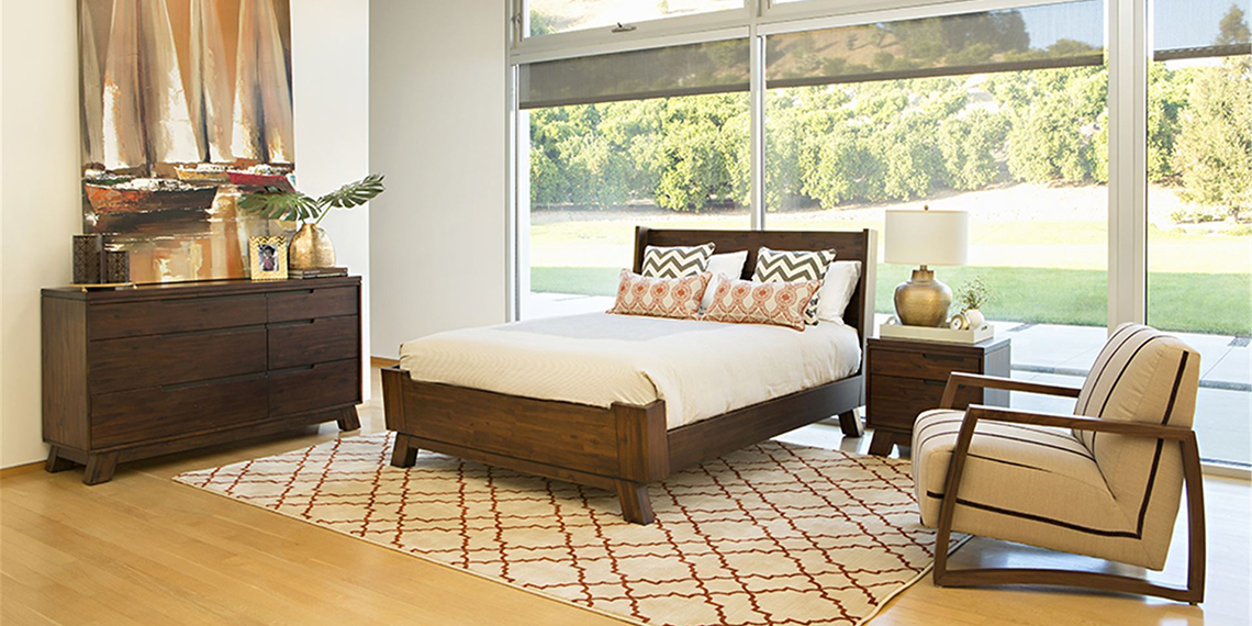 transitional bedroom room with Blake bed